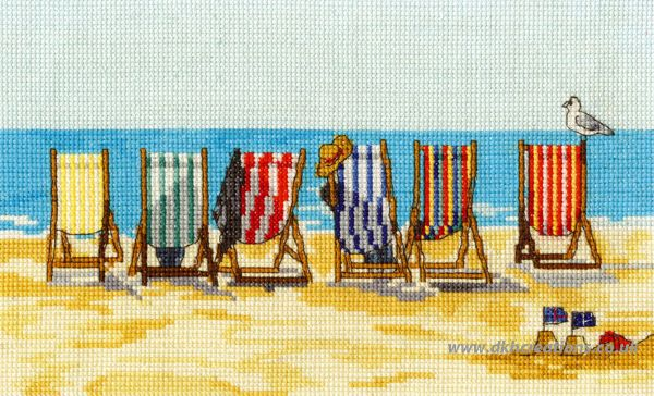 Stripey Deckchairs At Beer, Devon Cross Stitch Kit